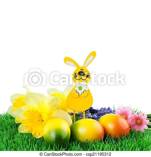 Easter border - easter egg with easter bunny and flowers on grass