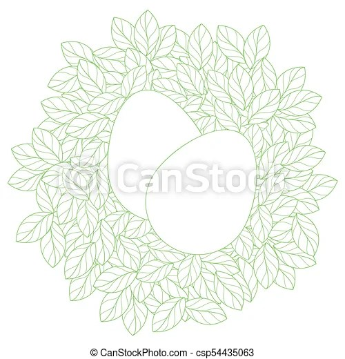 Easter card template with eggs in linear leaves nest