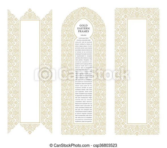 Eastern gold frames, arch template design elements in oriental