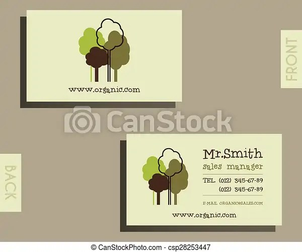 Eco, organic visiting card template for natural shop products and