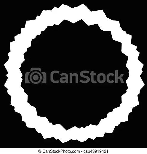 Edgy, zigzag circle frame, circle border textured circular shape