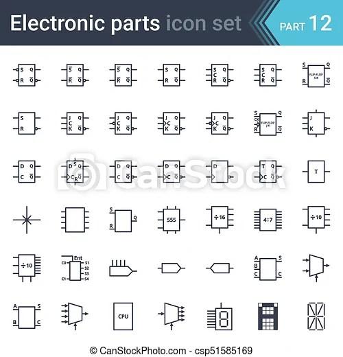 Electric and electronic circuit diagram symbols set of digital
