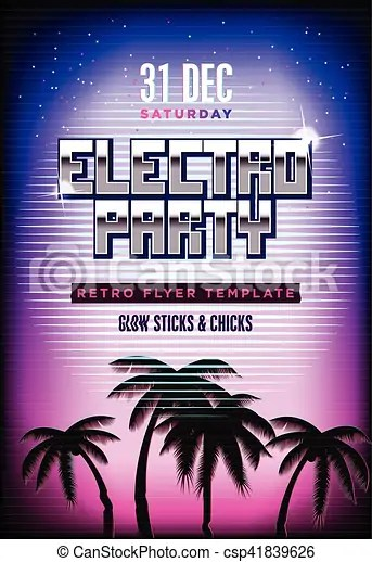 Electro party poster retro 80s neon background disco flyer