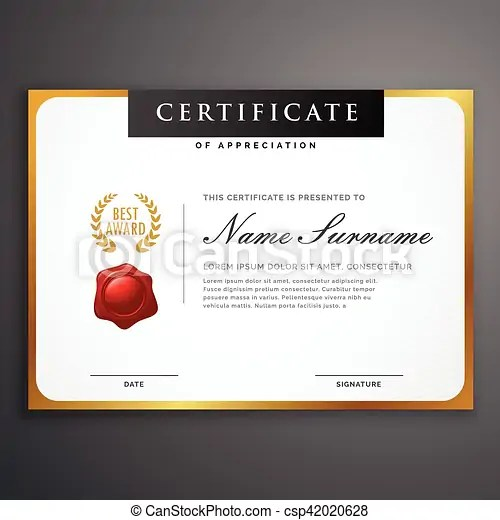 Elegant clean certificate template layout design with golden - certificate layout