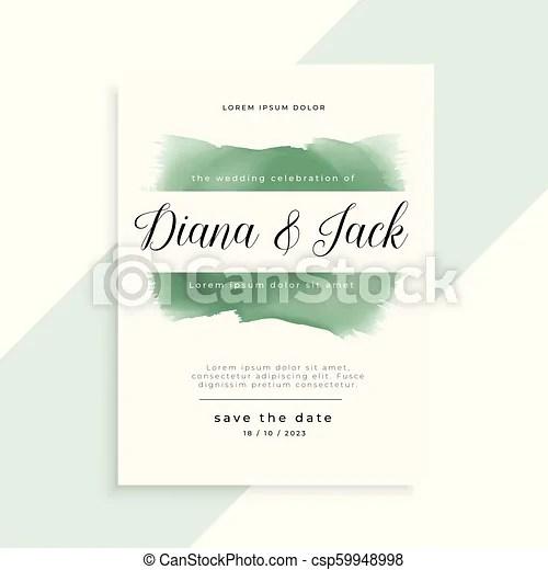 Elegant watercolor wedding invitation template design