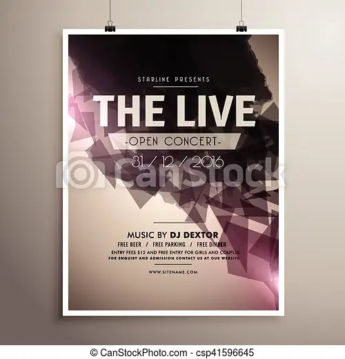 Elegrant live concert music flyer brochure template eps vector - music brochure