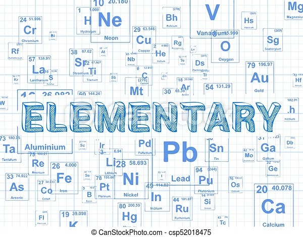Elementary element graph paper background Elementary word