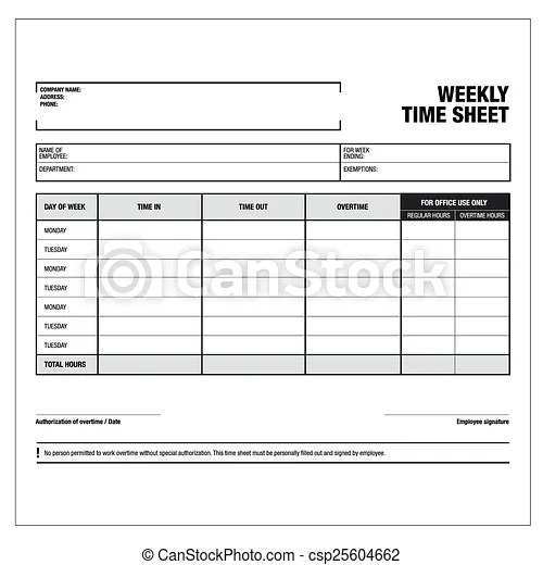 Employee weekly time sheet template