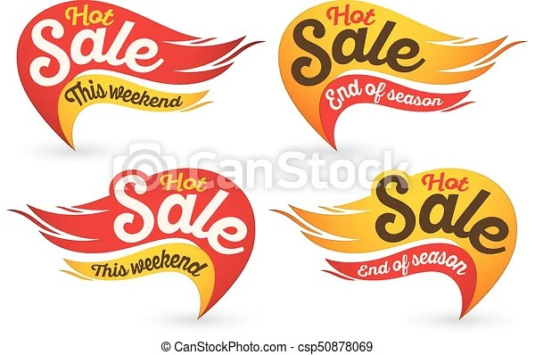 End of season hot fire sale vector labels stickers templates End