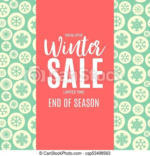 End of winter sale background, discount coupon template clip art