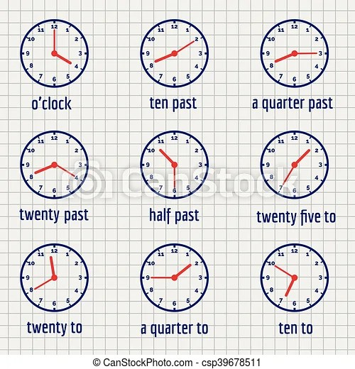 English education banner about time on notebook page vector