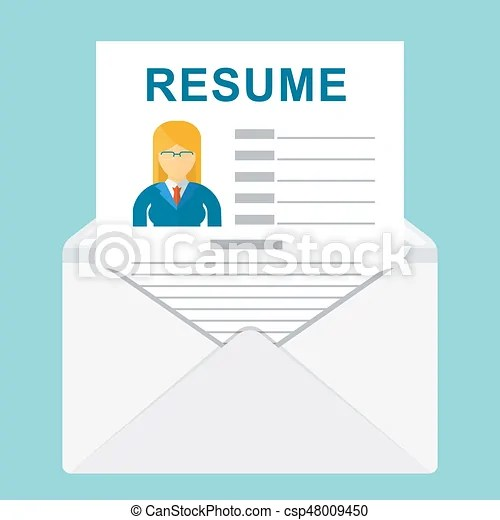 Envelope with resume Resume writing concept sheet resume with