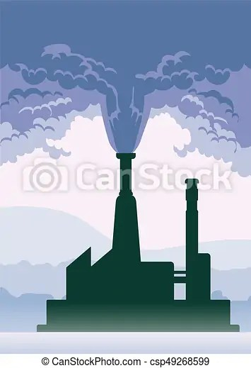 Environmental pollution poster smoke from a factory chimney vector