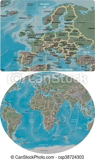 Europe and world maps Europe enlarged from world map