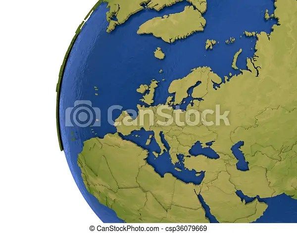European continent on earth Europe on detailed model of planet