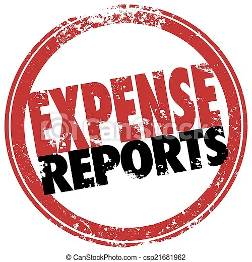 Expense report red stamp reimburse business costs Expense stock