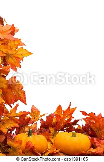Fall harvest border Fall leaves with pumpkin on white background