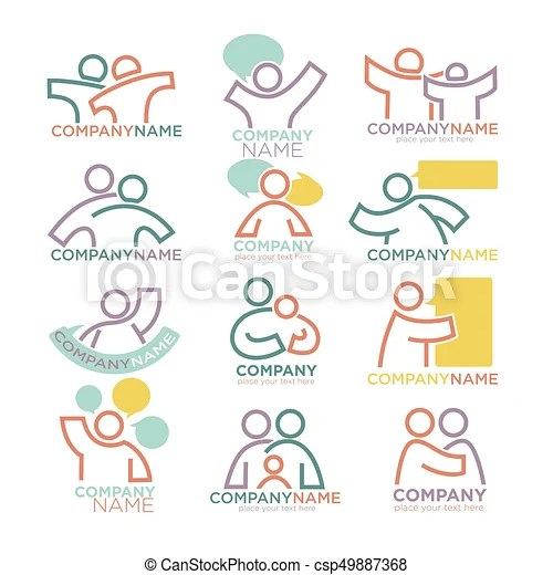 Family parents and child care logo templates vector symbols of