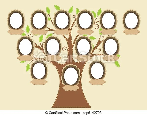 Family tree empty frames and name tags are individually vectors