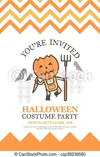 Farmer halloween invitation card for costume night party cute kid - halloween invitation