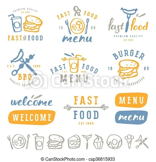 Fast food labels template in brush drawing style  Fast food labels