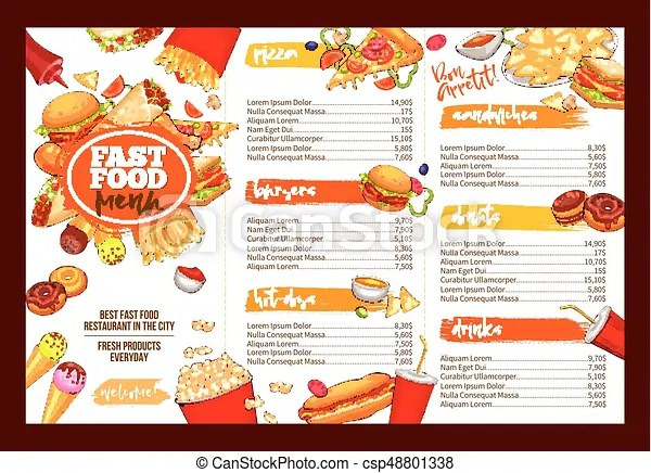 Fast food restaurant menu brochure template design Fast vectors