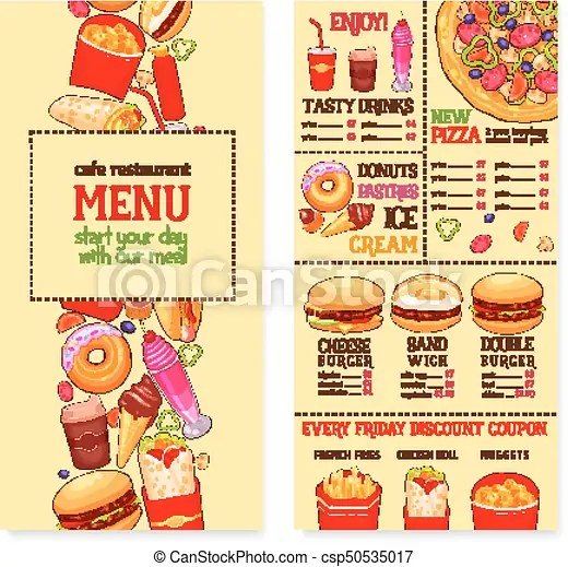 Fast food restaurant menu template Fast food menu banner vector - food menu template
