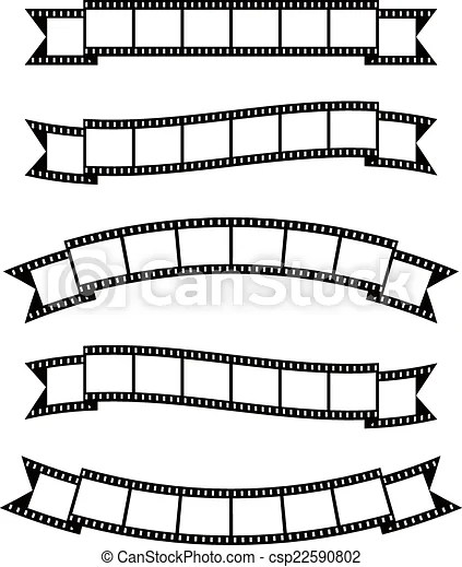 film strips banner ribbon Set of vintage film strips ribbon seal