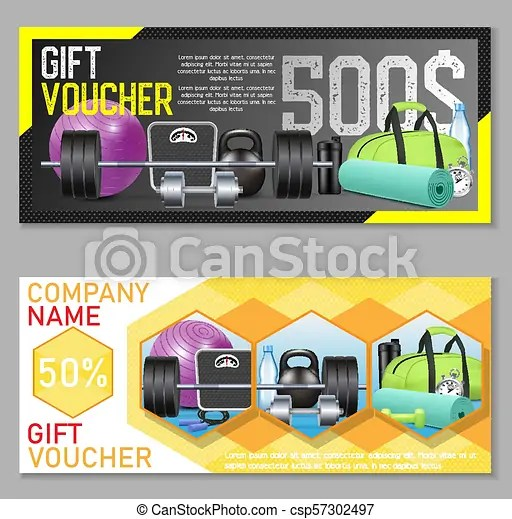 Fitness gift voucher vector template set gift certificate, discount