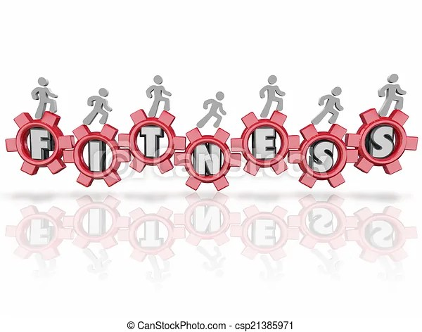 Fitness word team people walking running jogging letters stock
