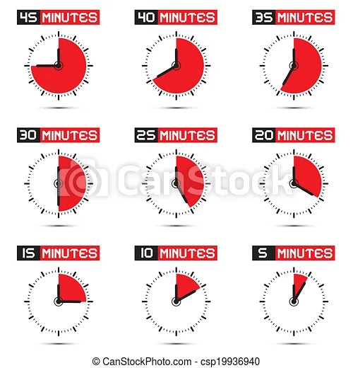 Five to forty five minutes stop watch illustration Five to forty
