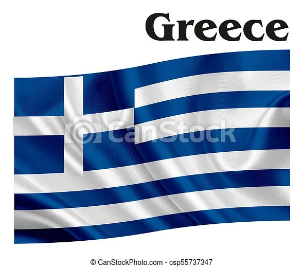 Flag of greece with word greece - word flag