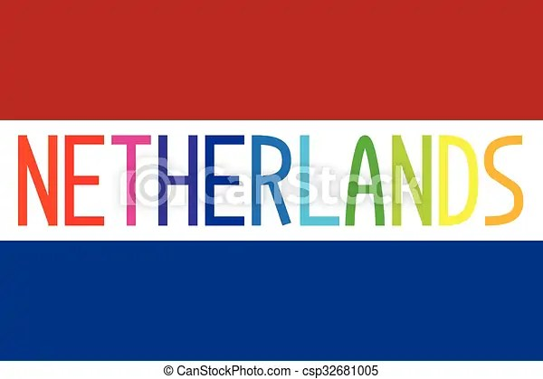 Flag of netherlands with word Flag of the netherlands in correct