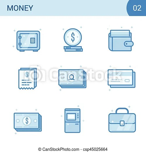 Flat line money icon set safe, card, cash, wallet receipt and atm