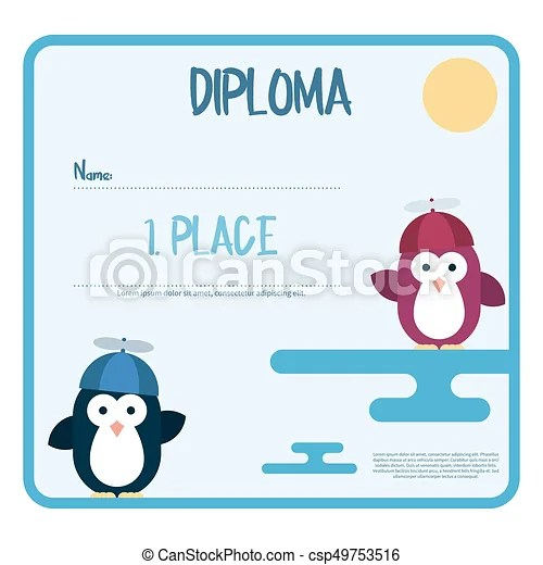 Flat template of diploma decorated with penguins stylized as a