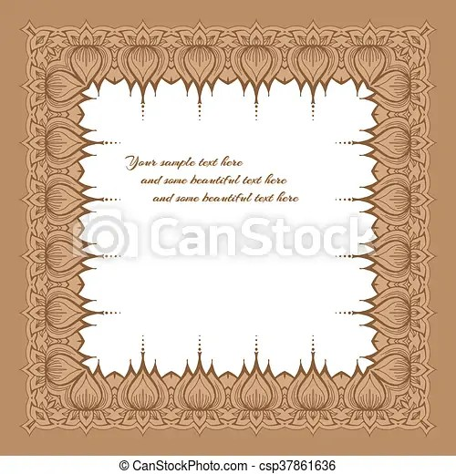 Floral ornament border Card with floral ornament template frame