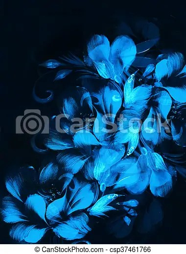 Flower painting on black background blue color Flower painting on