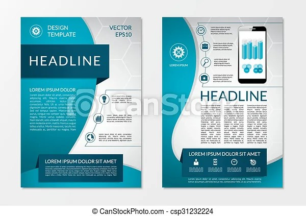 Flyer brochure design layout template with set of business marketing - marketing brochure