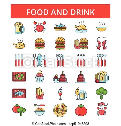 Food drinks illustration, thin line icons, linear flat signs, vector