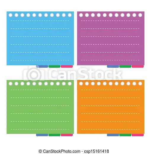 Four color of lined spiral notepad papers with tabs A sheet of - color lined paper
