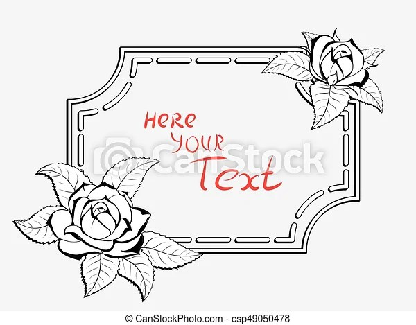 Frame for congratulation with roses Decorative stylized black-and