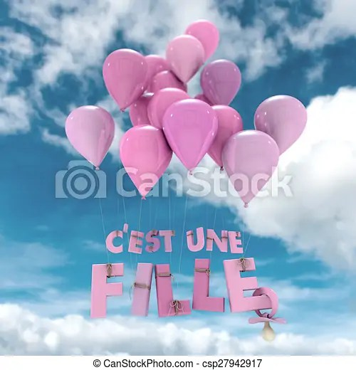 French baby girl birth announcement sky 3d rendering of the