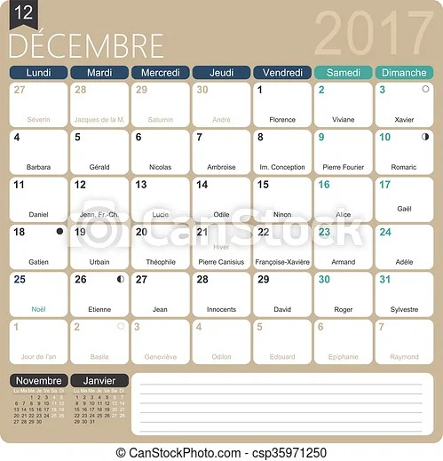 French calendar 2017 December 2017, french printable monthly - december monthly calender