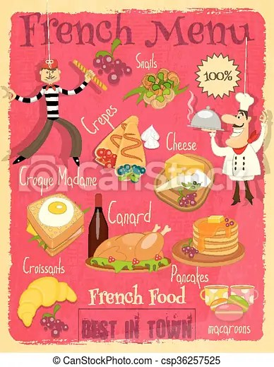 French food menu card with traditional meal retro vintage design