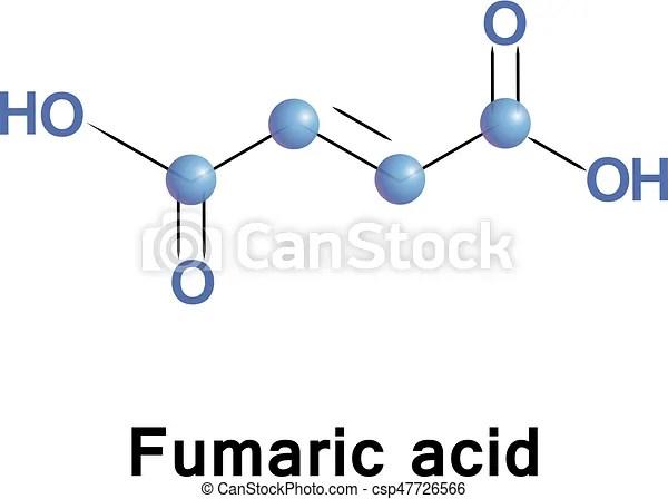 Fumaric acid molecule Fumaric acid or trans-butenedioic clip art