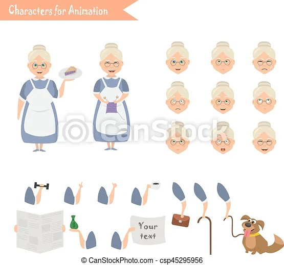 Grandmother housewife character for scenes parts of body template