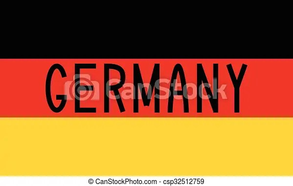 German flag and word germany German flag in correct proportions and - word flag