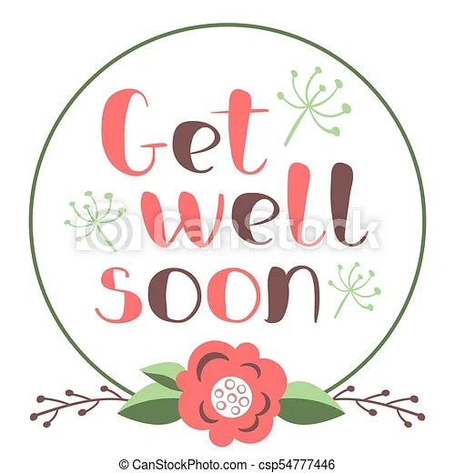 Get well soon card with hand drawn lettering decorative eps - get well soon card