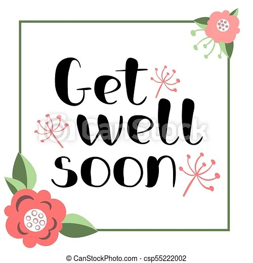 Get well soon card with hand drawn lettering decorative vector - get well soon card