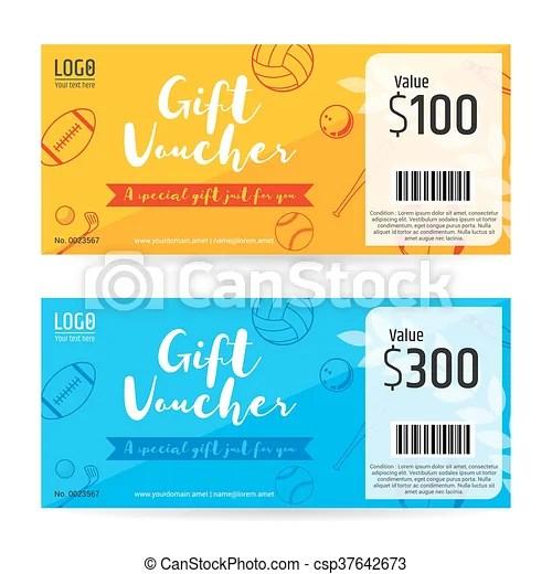 Gift certificate, gift voucher, gift card template in sport - gift voucher format